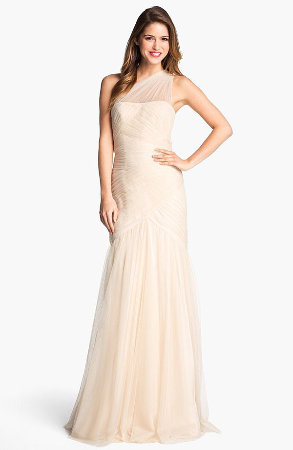 Not a white gown kind of gal? This ML Monique Lhuillier one-shoulder tulle trumpet gown ($698) is a great alternative. We adore the sheer one-shoulder detail.