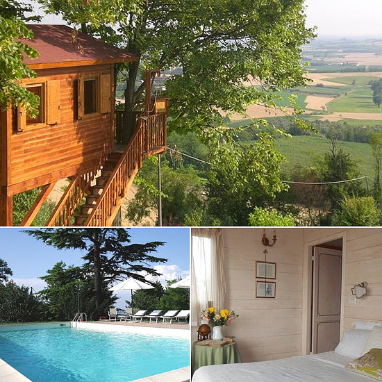 Is there anything more romantic than the idea of an Italian tree house? Suspended above the hills of Piedmont, Italy, the stunning escape features charming, cottage-inspired style, and guests can hop into the property's nearby swimming pool.