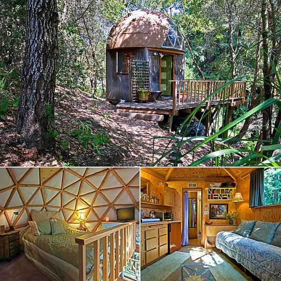 As the No. 1 listing on Airbnb, the mushroom dome cabin in Aptos, CA, sits beside a grove of redwood trees. Thanks to a deck, a double bed, a flat screen, and a stocked kitchenette, it's the luxurious version of tree house living with striking architectural elements.