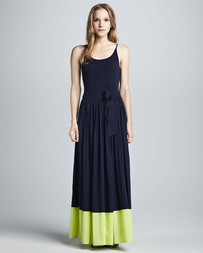 French Connection Mixed Fabric Maxi Dress