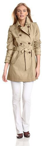 Tommy Hilfiger Women's Double Breasted Belted Water Resistant Rain Trench Coat