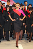 Miranda Kerr models the new Qantas female uniform.