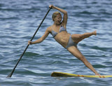 Kate practiced paddleboarding on a Hawaiian vacation in the Fall of 2006.