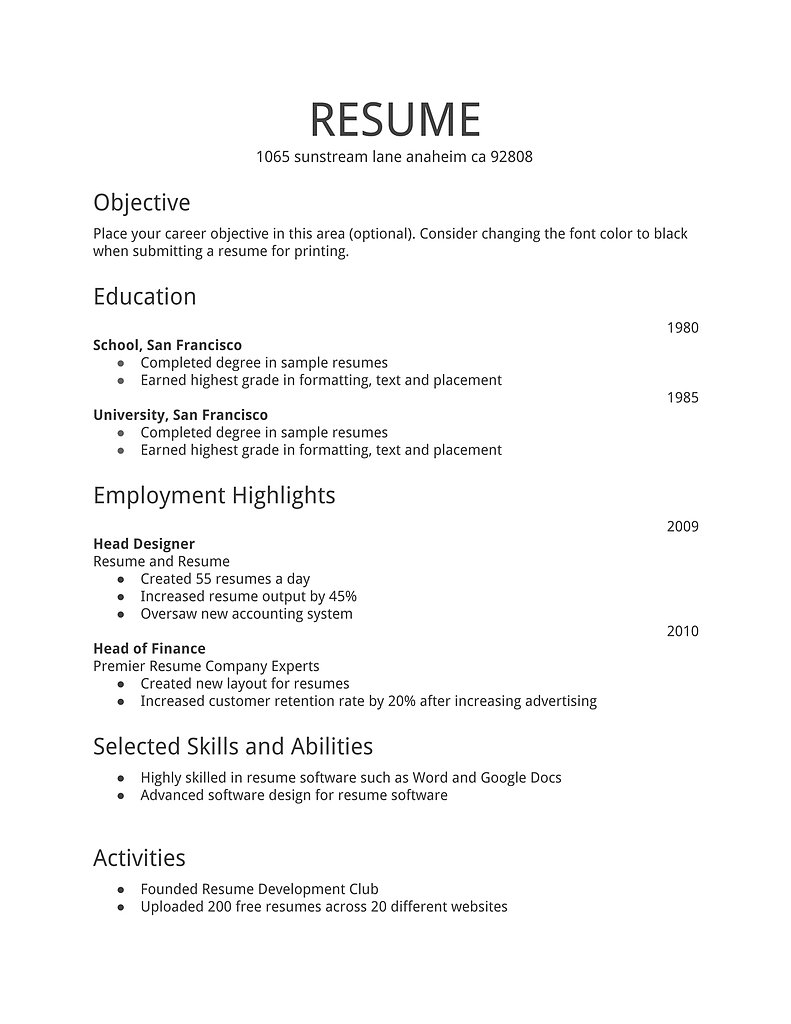 free resume examples online free online resumes templates download online resume examples 15 useful materials for - Resume Template Free Online