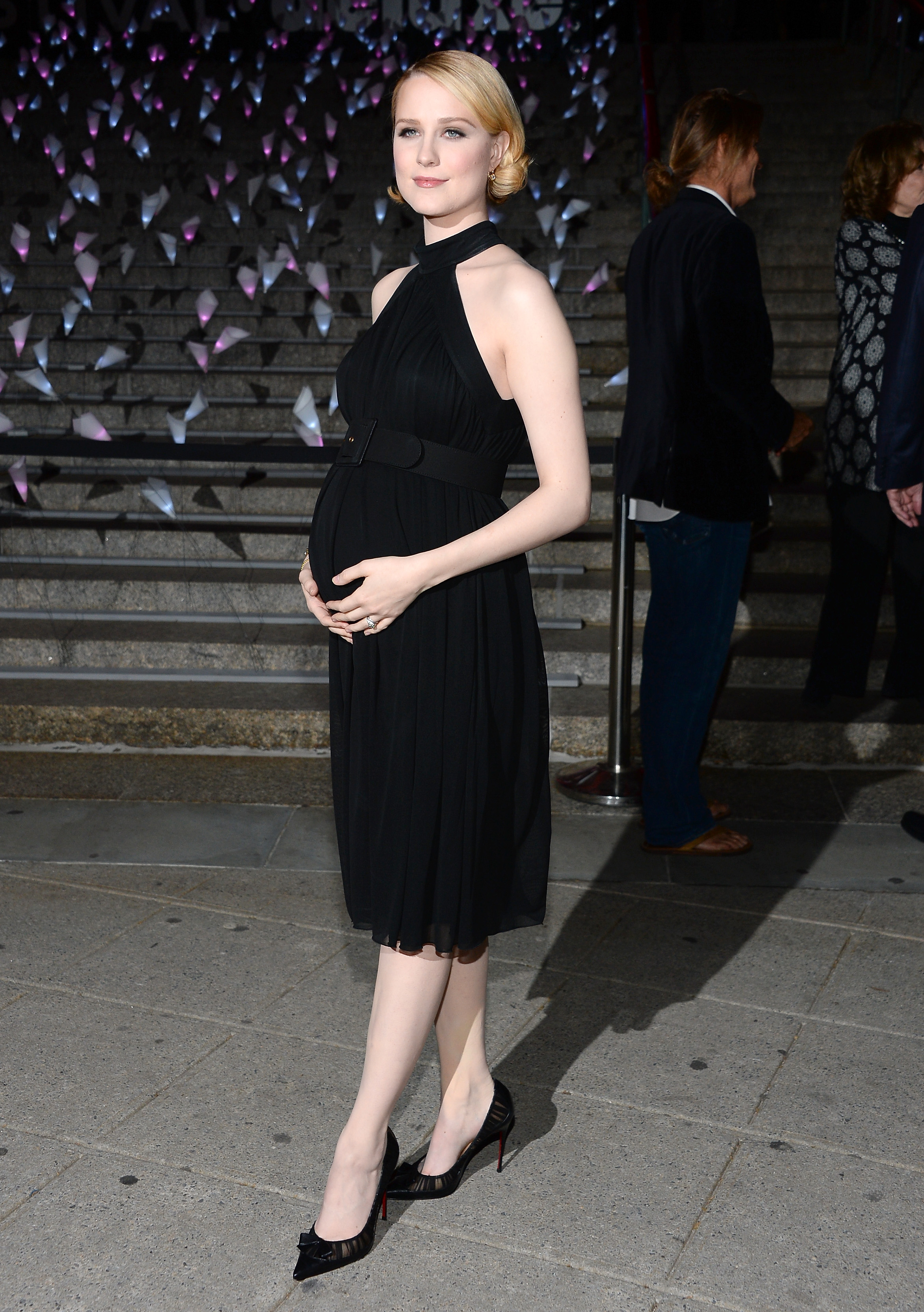 Evan Rachel Wood posed in front of stairs at Vanity Fair's Tribeca Film Festival party.