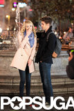 Emma Stone and Andrew Garfield giggled in front of a fountain.