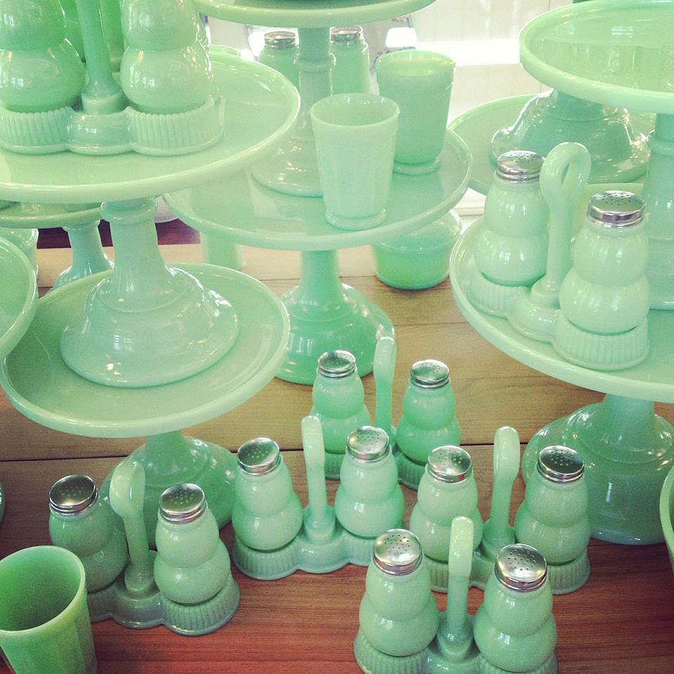 Seeing this minty green milk glass (on sale at Rejuvenation) en masse was a good reminder of the power of multiples!