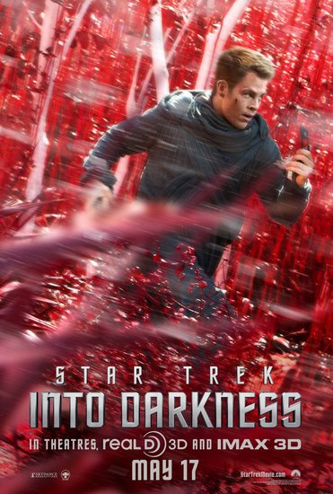Chris Pine as Captain Kirk in Star Trek Into Darkness.
