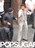 Bradley Cooper practiced his fighting stances in Boston while shooting scenes for American Hustle on Monday.