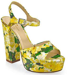 Kate Spade - ila - Silk Floral Print Platform Sandal in Yellow