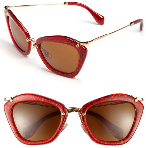 Miu Miu Glitter Infused Cat's Eye Sunglasses
