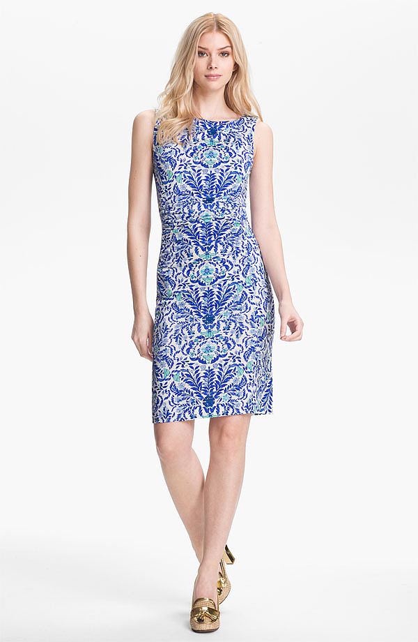 Tory Burch's Vivienne silk sheath dress ($350) will look ultrachic with a white blazer and metallic sandals.