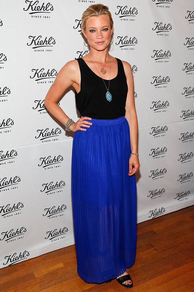 A cobalt maxi skirt made Amy Smart stand out at the Kiehl's event.