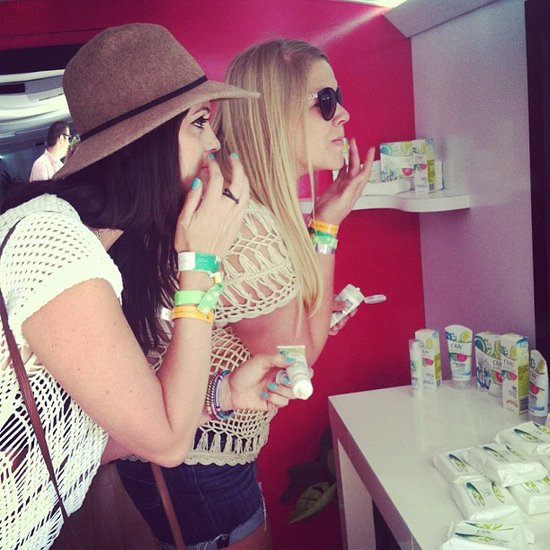 At the Volt Valley party, festival-goers took a break from the heat and freshened up at our beauty stations. Source: Instagram user POPSUGAR