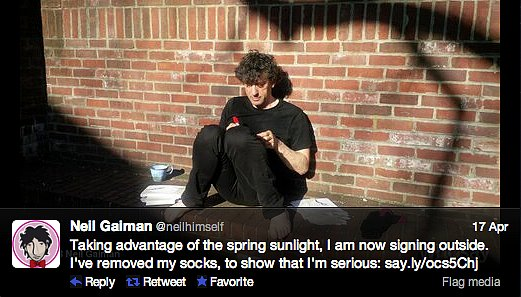 Neverwhere writer Neil Gaiman gets down to business. In his bare feet.