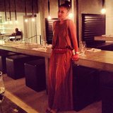 Style director Meg Cuna enjoyed the last night of Coachella in a flowing maxi with matching hip bag.