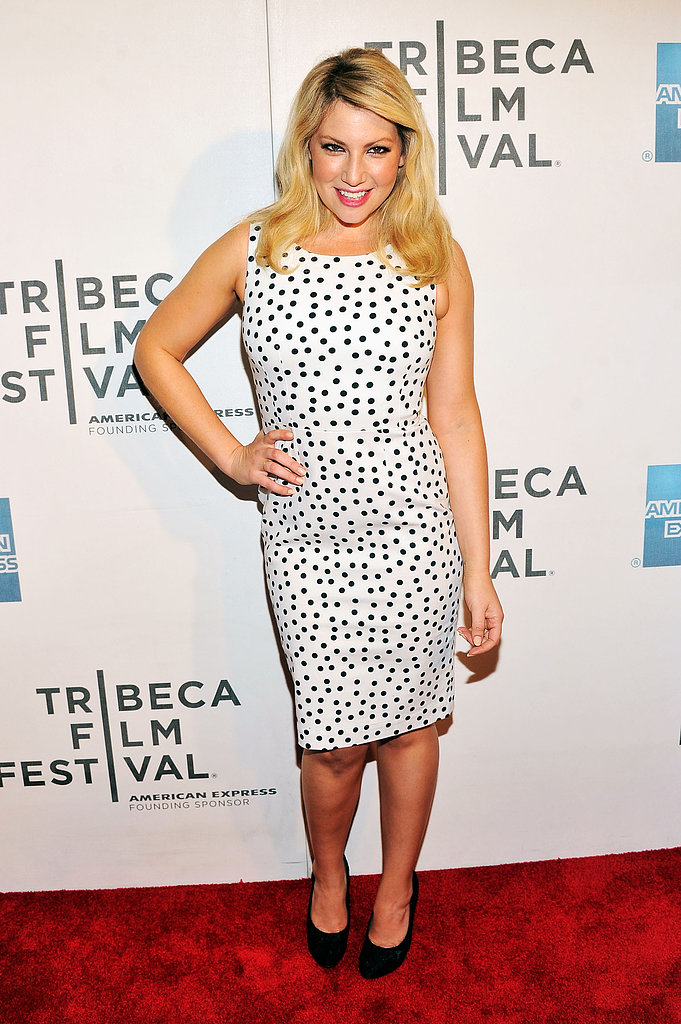 Ari Graynor went with a Spring-looking polka-dot cocktail dress for the Mistaken For Strangers premiere.