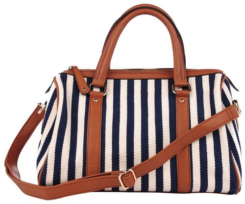 7CHI Striped Canvas Satchel
