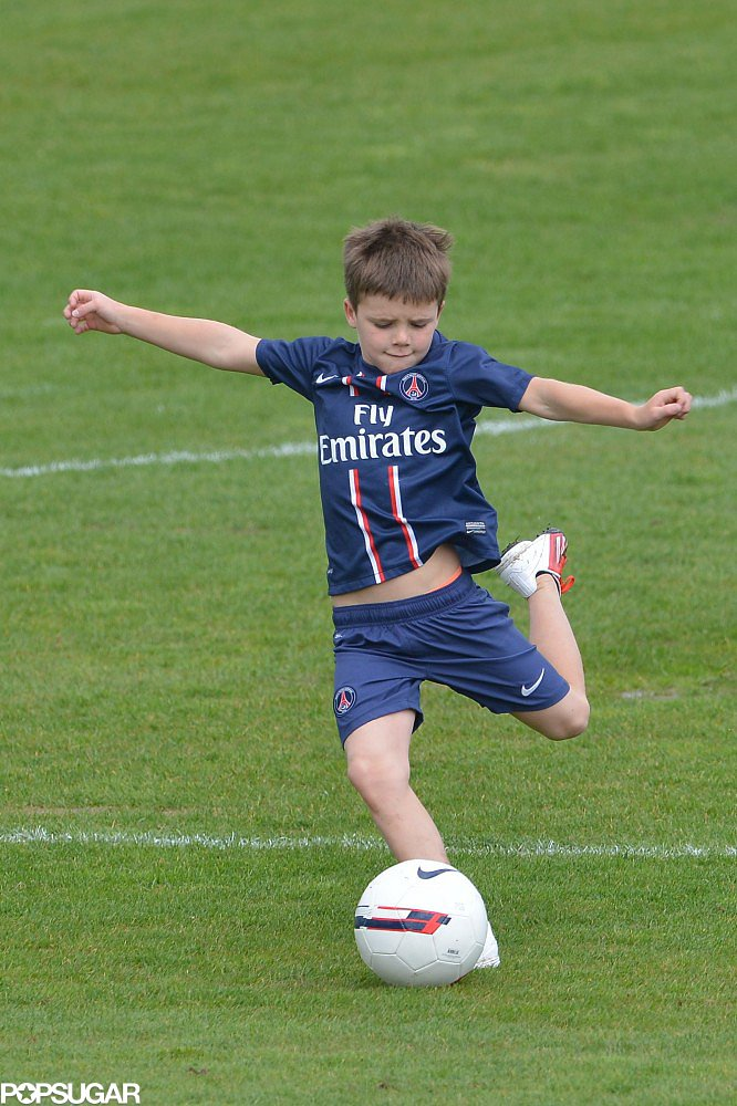 Cruz Beckham showed off his soccer skills.