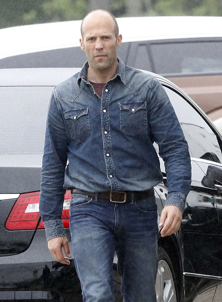 Jason Statham walked on the Heat set on Monday in New Orleans.