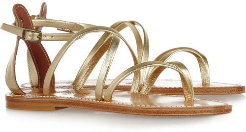 K Jacques St Tropez Epicure multi-strap metallic leather sandals