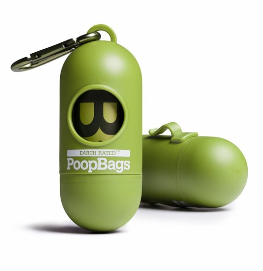 Green Dispenser With 15 Dog Waste Poop Bags