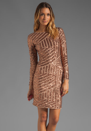 BCBGMAXAZRIA Sequin Long Sleeve Scoop Back Dress