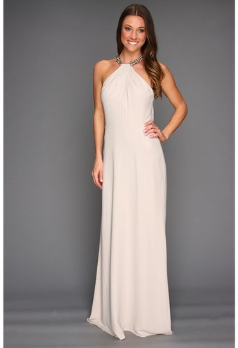 BCBGMAXAZRIA - Sarah Embellished Halter Gown (Light Stone) - Apparel