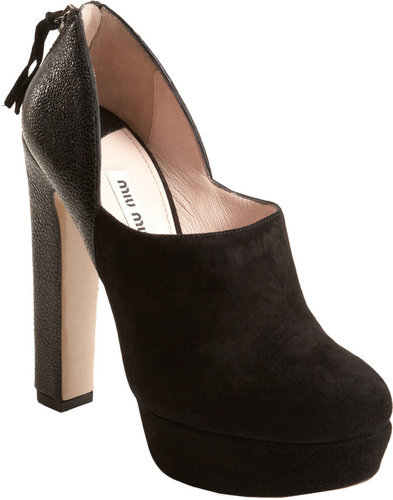 Miu Miu Pebbled Heel Ankle Boot