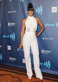 Kelly Rowland wowed in a fresh white jumpsuit from London label Izmaylova.