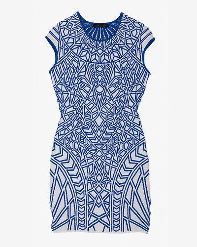 Rvn Exclusive Geometric Jacquard Knit Dress