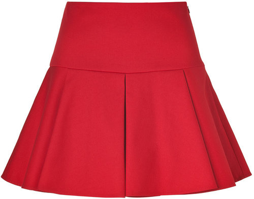 Valentino R.E.D. Red Pleated Cotton Skirt