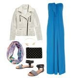 For daytime, take your bridesmaid dress to a cool, casual level by adding a lightweight printed scarf and white leather biker jacket. Flat leather sandals, a thin gold bangle, and a low-maintenance pouch will add a chic, edgy vibe. Shop this look:  IRO Caelie Perforated Leather Biker Jacket ($1,368) Halston Heritage Strapless Crepe Maxi Dress ($495) Rebecca Minkoff Joplin Flat ($195) Mango Floral Print Foulard ($40) Gorjana Chevron Tribal Cuff ($80) Forever 21 Studded Coin Purse ($8)