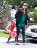 Jennifer Garner looked both ways before crossing the street with Seraphina Affleck in LA.