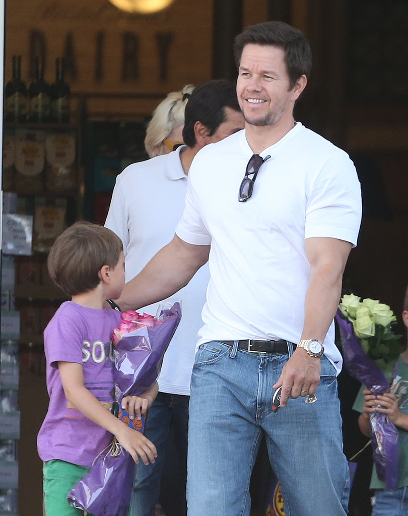 Mark Wahlberg stopped by Bristol Farms with his sons in LA.