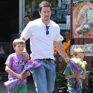 Mark Wahlberg and His Sons at Bristol Farms in LA