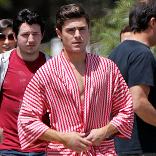 Zac Efron Wears a Robe on the Townies Set