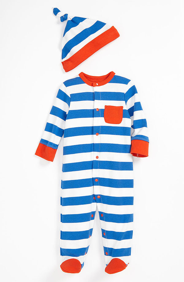 The bright colors and stripes in this footie and hat ($22) are just the way to bundle him up for Spring.