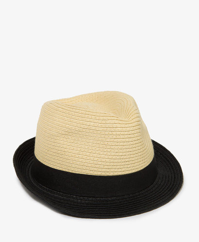 FOREVER 21 Colorblocked Straw Fedora