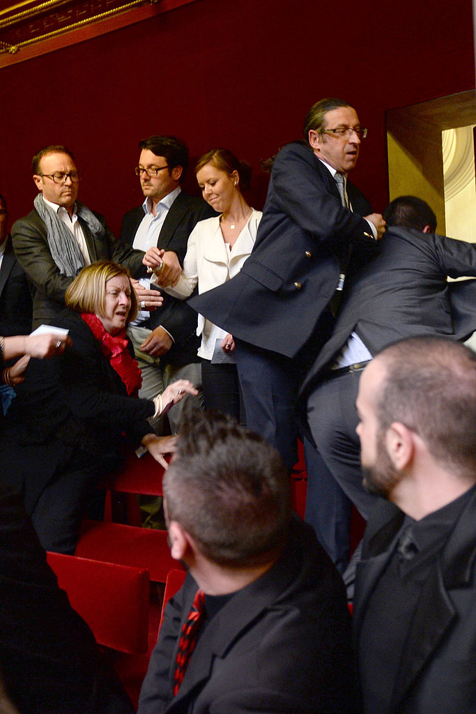 An anti-gay-marriage protester caused a disruption in the French parliament before the vote on gay marriage.