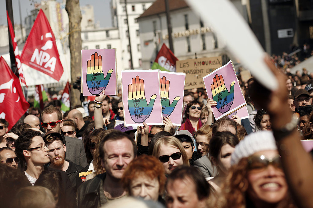 Proponents of gay marriage gathered at Bastille square to protest against homophobia.