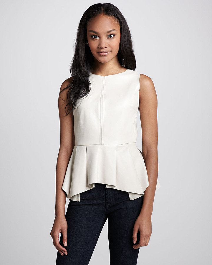 Consider this Patterson J. Kincaid Erin Pleated-Peplum Top ($358) your perfect (no-fuss!) way to wear Spring leather.