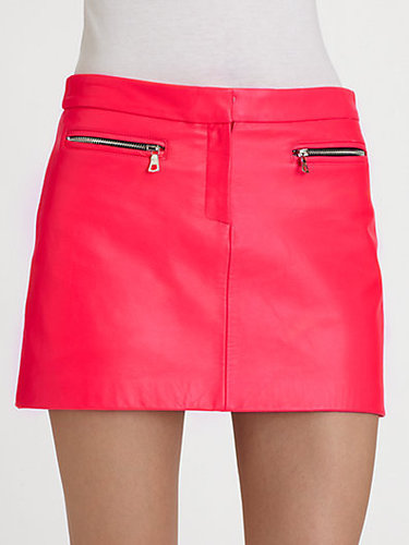 Milly Zip-Pocket Leather Mini Skirt