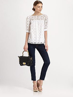 Milly Eyelet Elbow-Sleeve Top