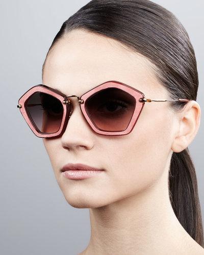 Miu Miu Pentagon Sunglasses, Brown/Pink