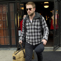 Robert Pattinson Pictures Leaving NYC Hotel in Check Jacket