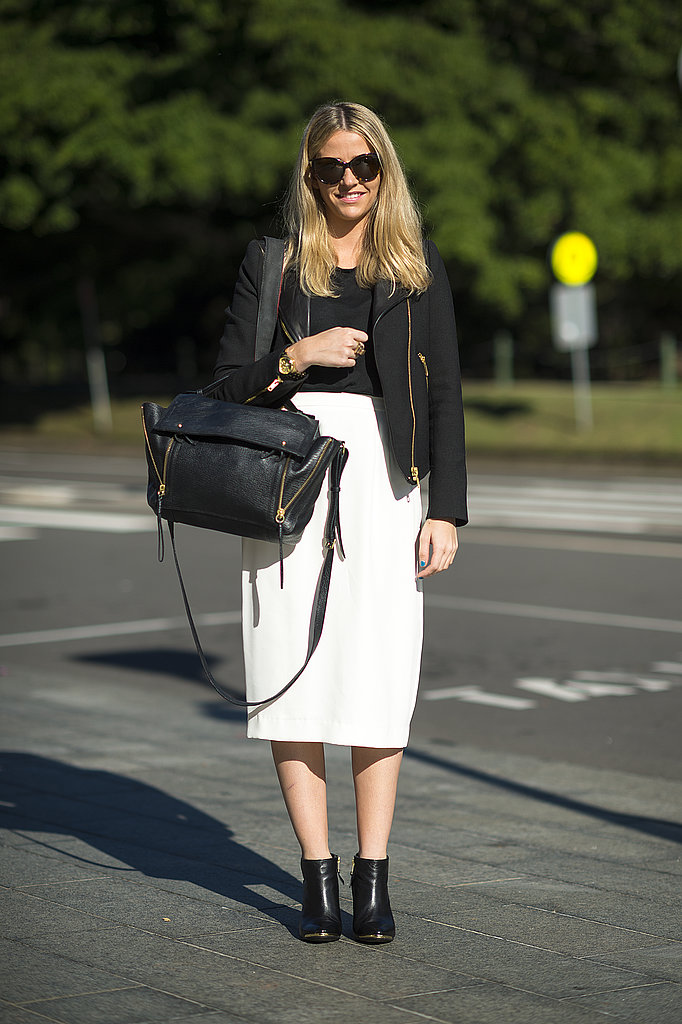 The pencil skirt paired with a moto jacket isn't just a compromise between business casual and cool, but also an easy way to stay comfortable and stylish before the weather officially warms. Source: Le 21ème | Adam Katz Sinding