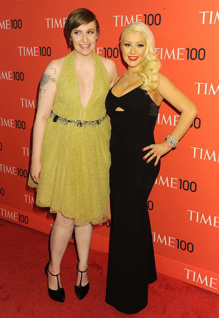 Lena Dunham and Christina Aguilera shared a photo on the red carpet.