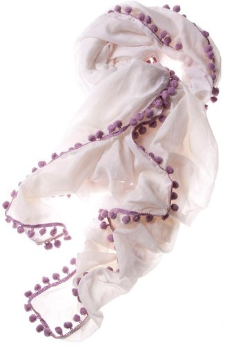 Thomaspaul - Cream/Lavender Pom Pom Scarf
