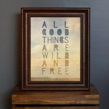"This typography print includes the quote ""All good things are wild and free"" ($18) by Henry David Thoreau."